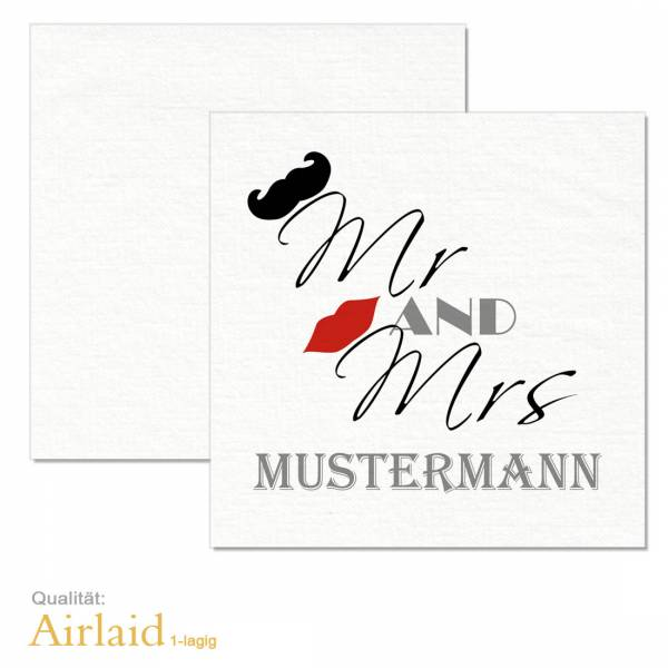 "Servietten ""Mr and Mrs"" zur Hochzeit bedrucken Airlaid"