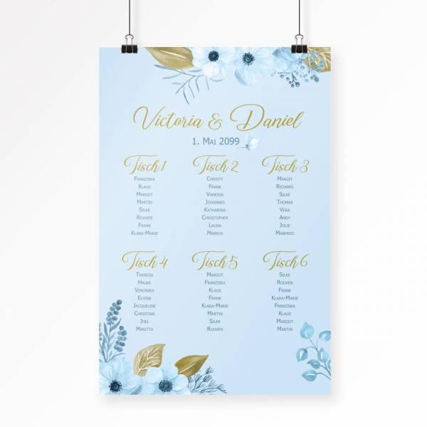 Sitzplan Sitzordnung zur Hochzeit mit Blumen watercolor bestellen