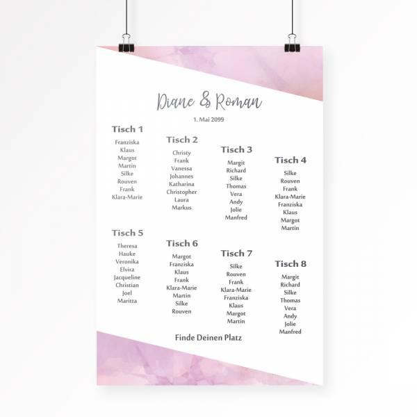 Tischplan für die Hochzeit in Pastellfarben individuell gestalten lassen
