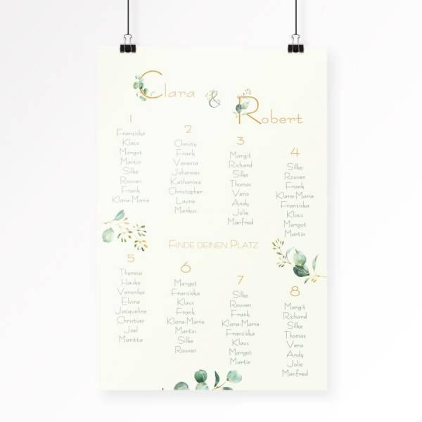 Hochzeitstischordnung Sitzplan Eukalyptus online gestalten lassen