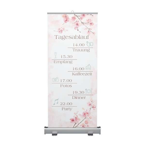 Willkommensschild Tagesablauf Rollup zur Hochzeit Kirschblüte
