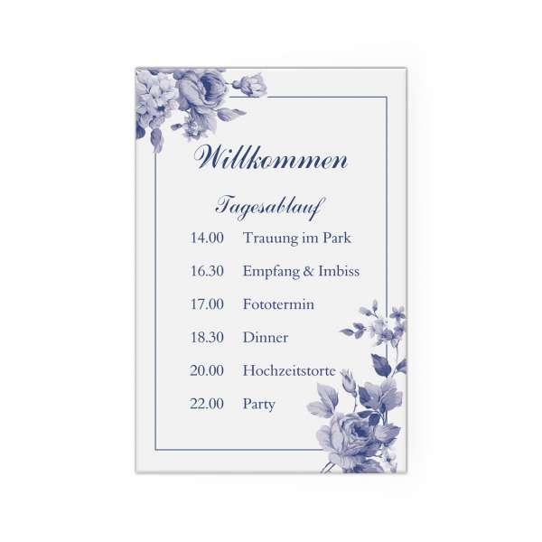 Tagesablaufschild zur Hochzeit indianblue Leinwand auf Keilrahmen