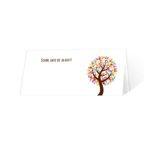 """Tischkarte zur Erstkommunion """"Baum mit Händen"""" drucken lassen"""