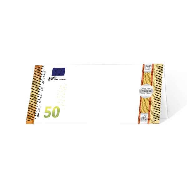 Tischkarten Geldschein 50. Geburtstag - NICHT personalisiert