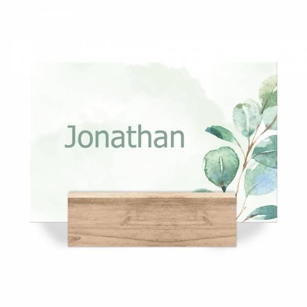 Platzkarten zur Hochzeit mit Eukalyptuszweigen