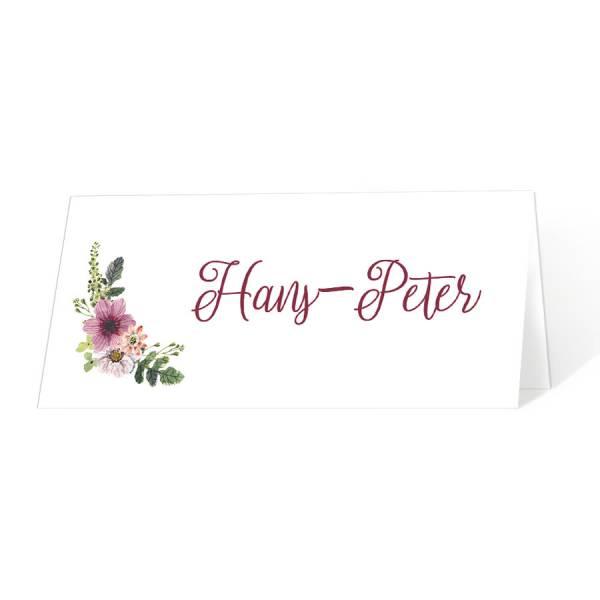 Tischkarten Geburtstagsfeier mit Blumen drucken lassen