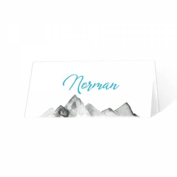 Tischkarten für die Hochzeit in den Bergen gestalten und drucken lassen