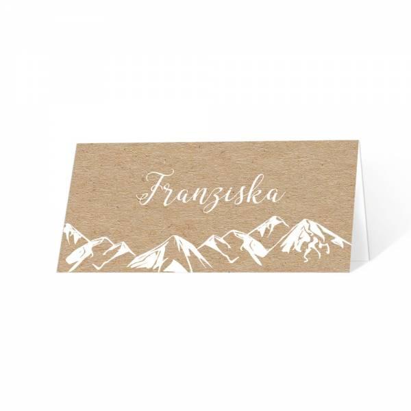 Tischkarten für die Berghochzeit in Kraftpapieroptik drucken