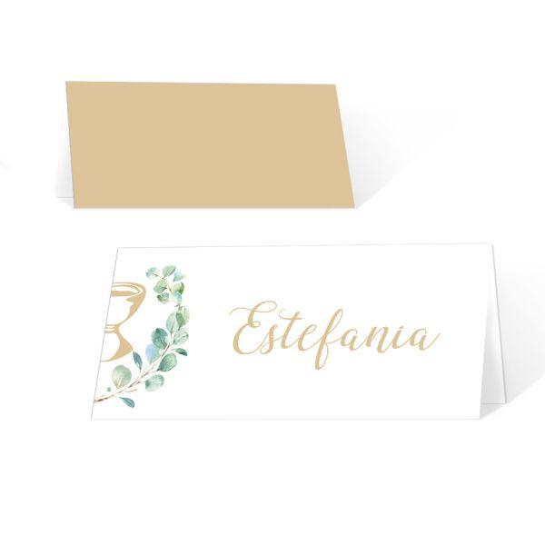 Tischkarten Kommunion Konfirmation mit Eukalyptus und Kelch
