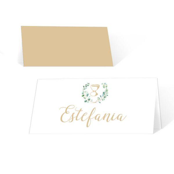 Tischkarten Kommunion Konfirmation mit Kelch und Eukalyptus online bestellen