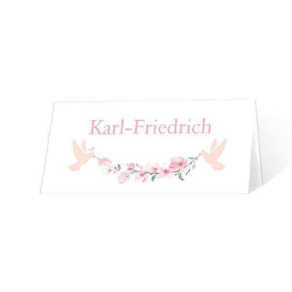 Tischkarten für die Kommunion und Konfirmation mit Kirschblüten und Tauben