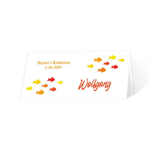 """Tischkarten """"kleine Fische"""" Kommunion Konfirmation rot orange online bestellen"""