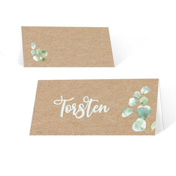 Tischkarten Kommunion Konfirmation mit Eukalyptus auf Kraftpapieroptik drucken
