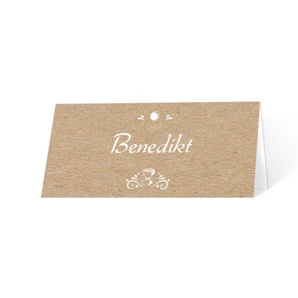 Tischkarten Kraftkartonoptik mit Kelch und Hostie in weiß online drucken lassen