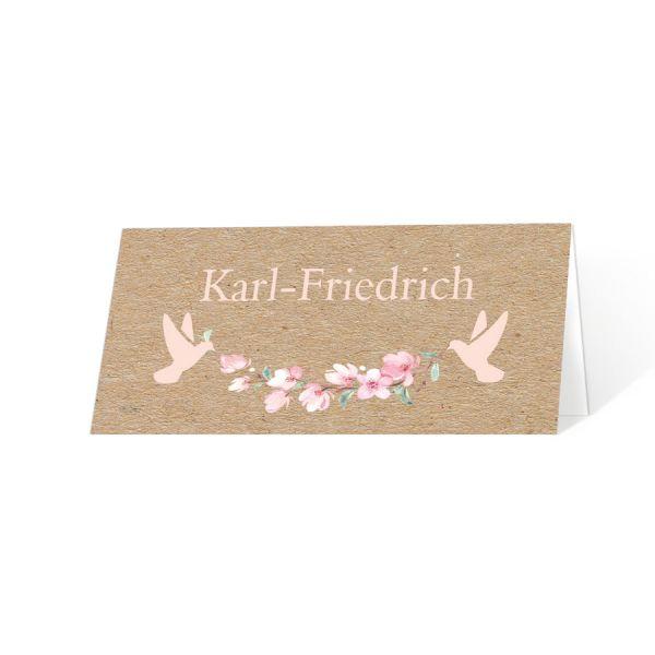 Tischkarten Taufe Namensweihe Anna/Aaron mit Kirschblüten und Tauben