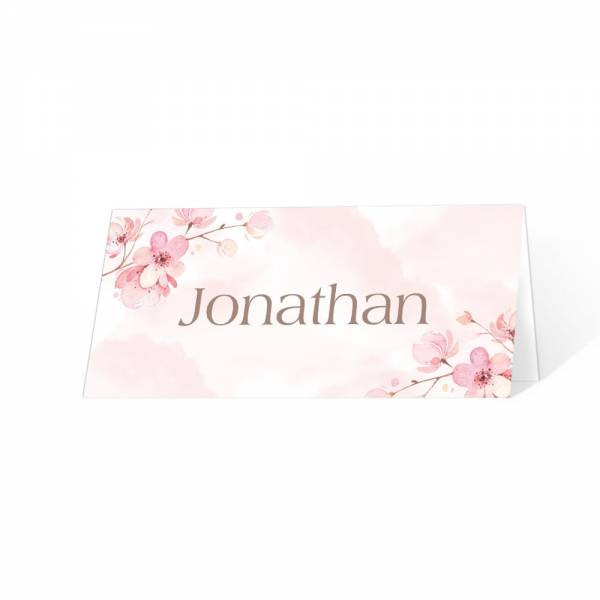 Tischkarten mit Kirschblüte für die Hochzeit drucken lassen