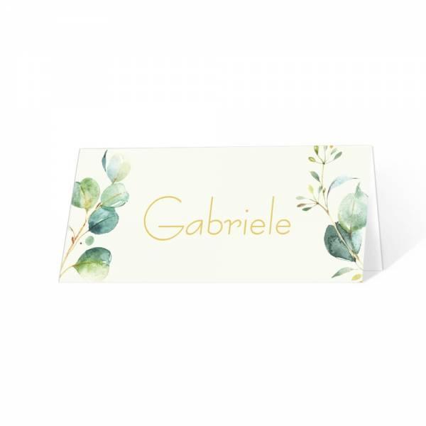 Tischkarten zur Hochzeit Eukalyptus individuell gestaltet