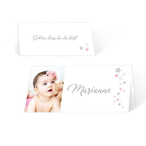 bezaubernde Tischkarte zur Taufe oder Namensweihe individuell gedruckt