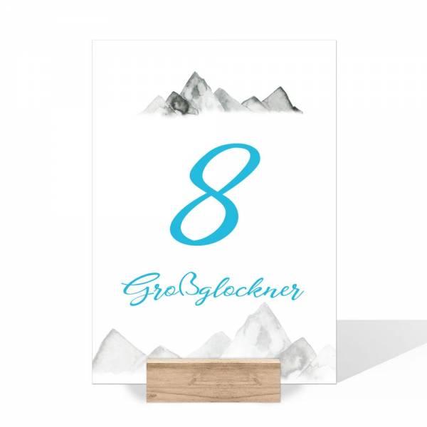 Tischnummer für die Hochzeit in den Bergen drucken lassen