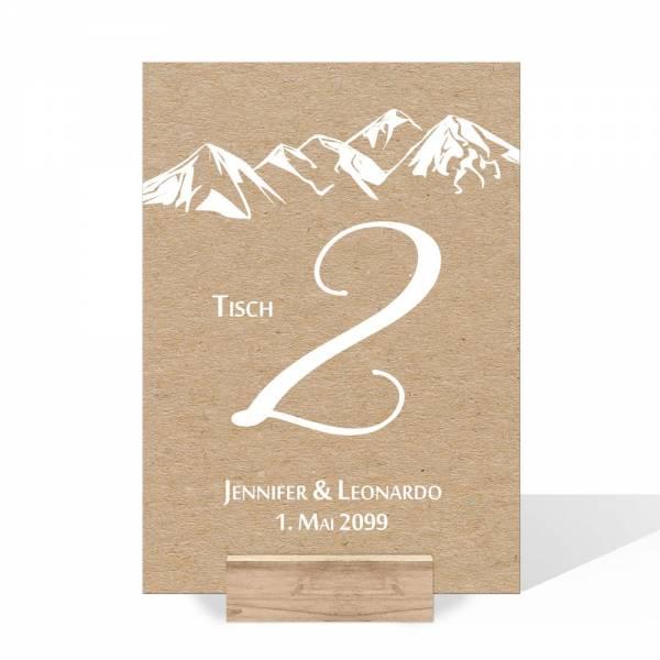 Tischnummern Karte für die Berghochzeit Kraftpapieroptik drucken