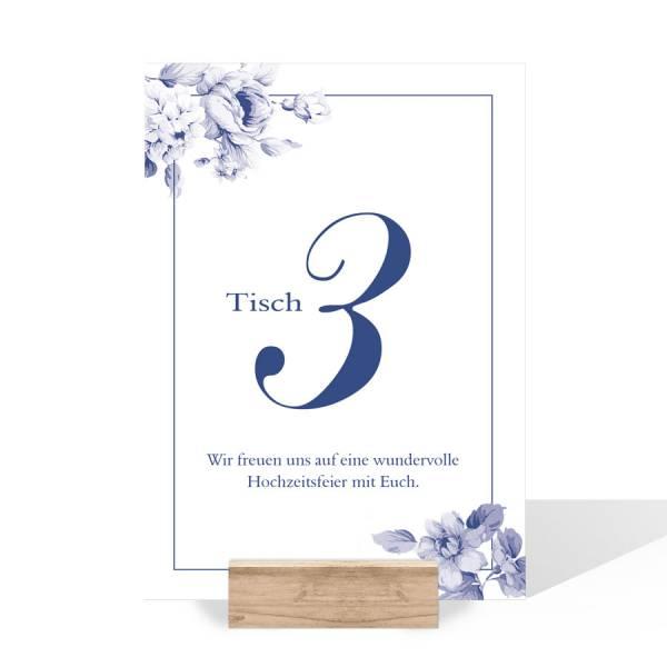 Tischnummernkarten Sitzordnung Hochzeit Indianblue