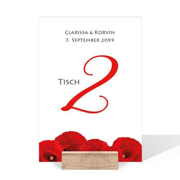 Tischnummernkarten Sitzordnung Hochzeit Mohnblumen