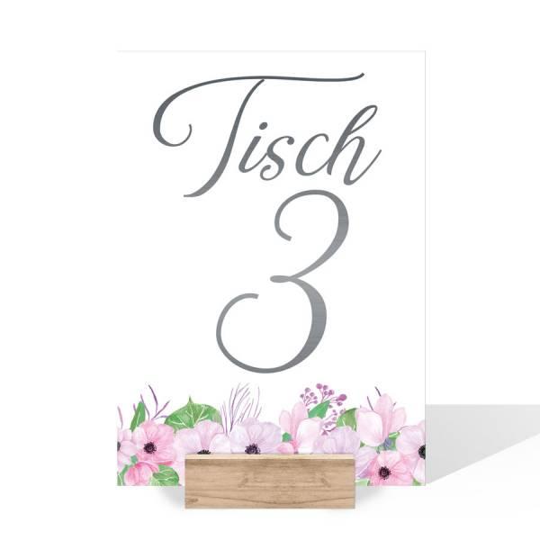 Tischnummernkarten für die Hochzeit Boho Blüten
