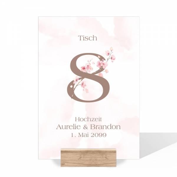 Tischnummern zur Hochzeit Kirschblüte rose drucken lassen