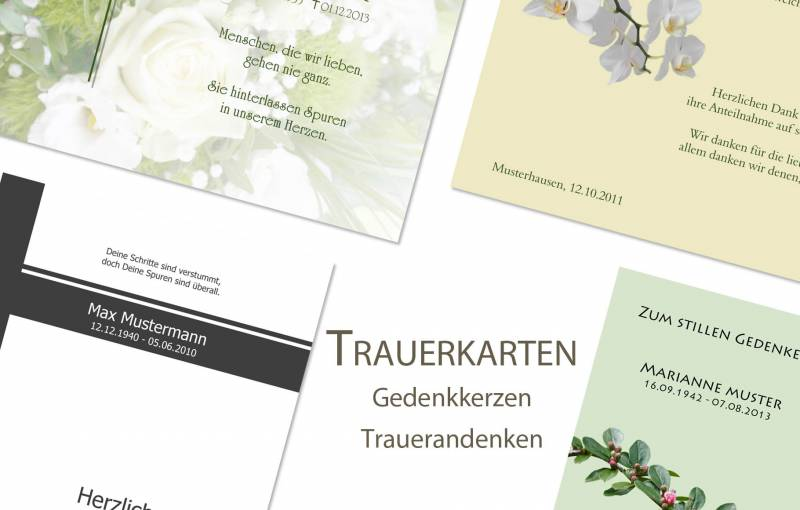 Trauerdrucksachen - Traueranzeigen, Gedenkkerzen, Trauerdanksagungen