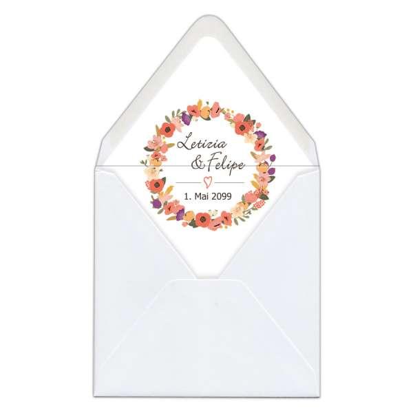 """Briefumschlag-Inlett Hochzeit gedruckt """"Letizia & Felipe"""""""