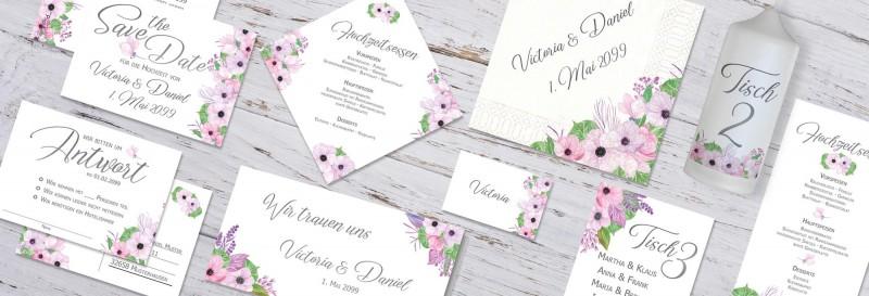 Hochzeitspapeterie mit romantischen Blüten im Boho-Stil
