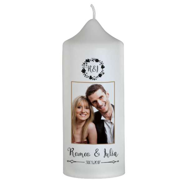 """Hochzeitskerze Vintage """"Romeo & Julia"""" mit Foto"""