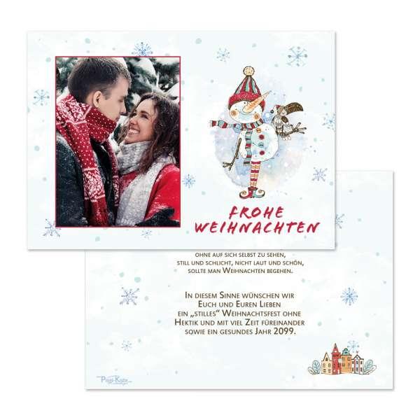 """Weihnachtsgrußkarten mit Foto """"lustiger Schneemann"""""""