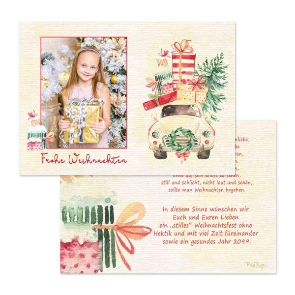 Weihnachtsgrußkarten mit Foto und Geschenkewagen online drucken
