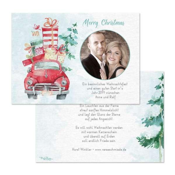 individuelle Weihnachtskarten mit Christmastruck Watercolorstil online bestellen