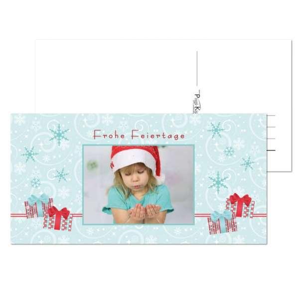 verspielte Weihnachtskarte mit Foto