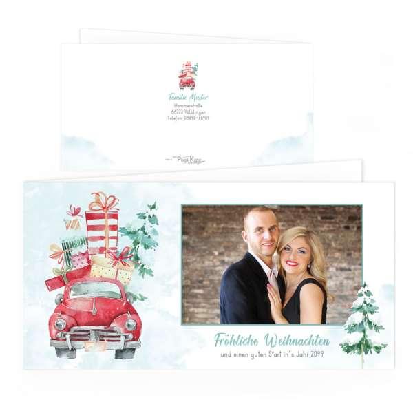 Watercolor Weihnachtskarten mit Christmastruck online drucken