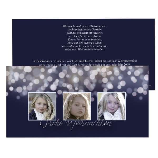 Weihnachtskarten Bokeh Nachtblau mit oder ohne Fotos