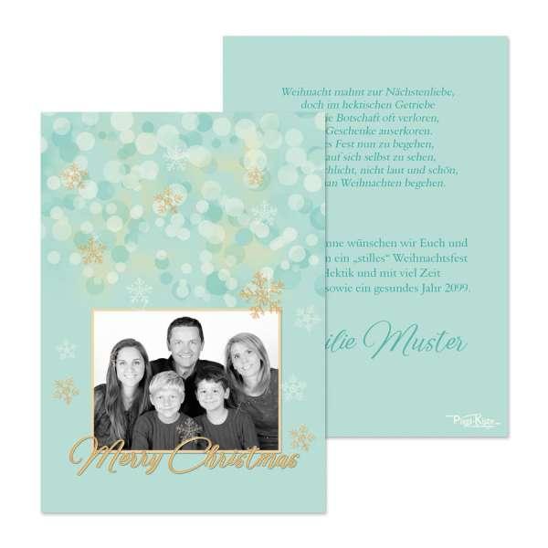 Weihnachtskarten Smaragd-Gold Bokeh mit Foto