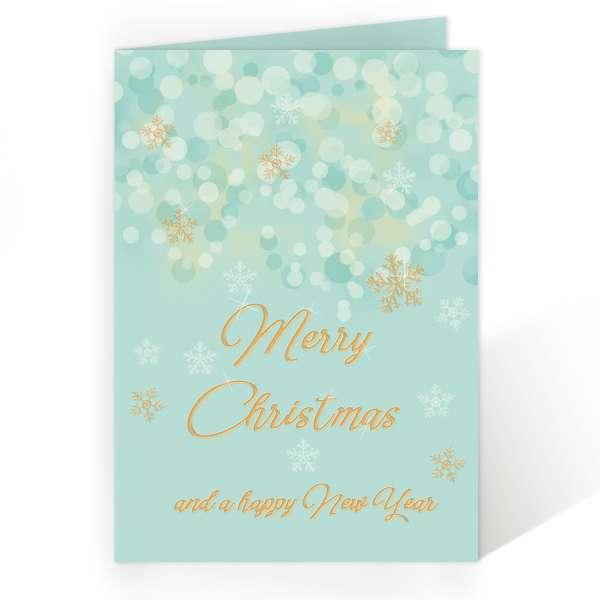 Weihnachtskarten Smaragd-Gold gewerblich und privat Bokeh