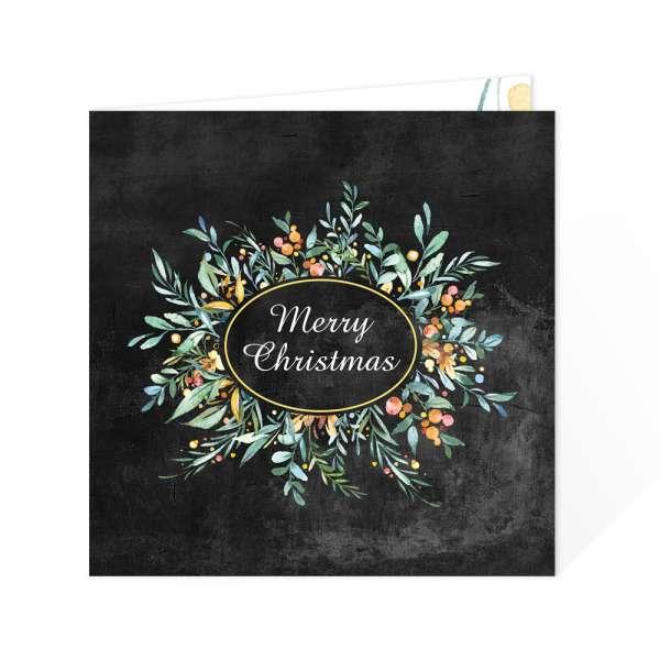 persönliche quadratische Weihnachtskarte in Schieferoptik / Chalkboard