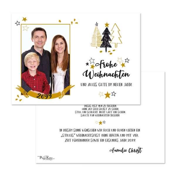 Weihnachtskarten mit Foto und modernem Design in gold und schwarz