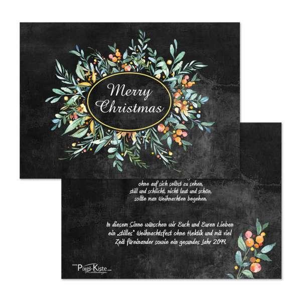 wunderschöne Chalkboard Weihnachtskarte mit farbigen Zweigen online drucken