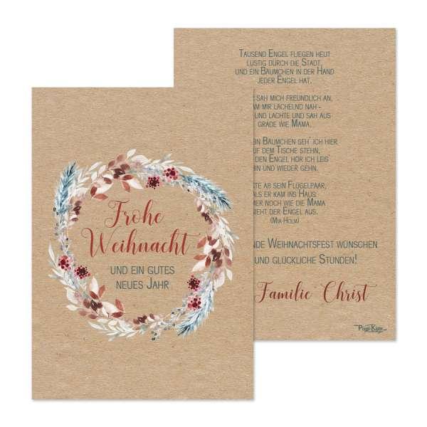 Weihnachtskarten Kraftkartonoptik floraler Kranz individuell gedruckt