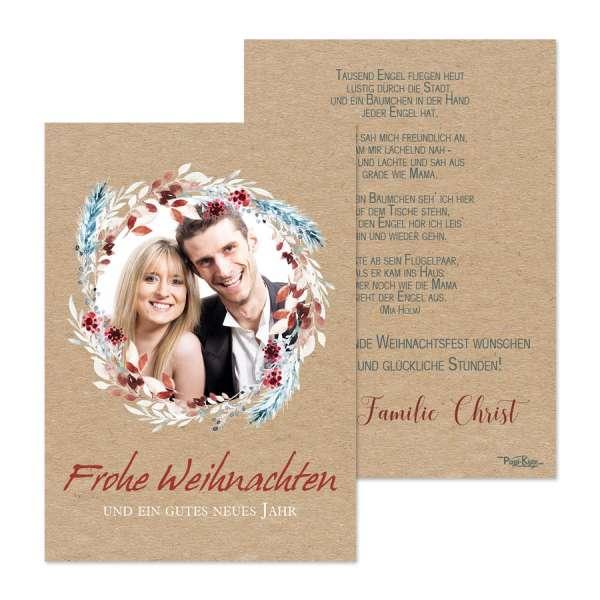 Weihnachtskarten mit Foto Kraftkartonoptik floraler Kranz online drucken lassen