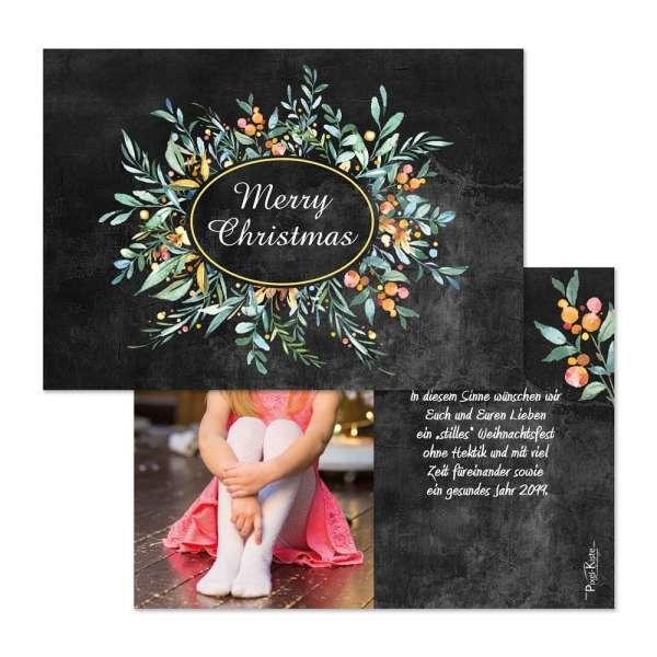 festliche Weihnachtskarte mit floralem Design Chalkboard / Schieferoptik