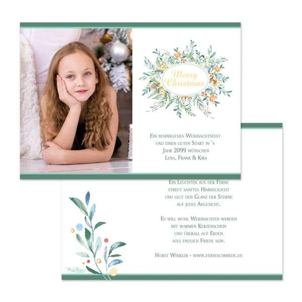 Weihnachtskarte mit floralem Design Watercolor individuell gedruckt