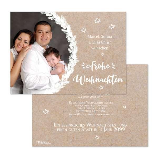 Weihnachtskarten in Kraftkartonoptik mit Foto für die private Weihnachtspost drucken