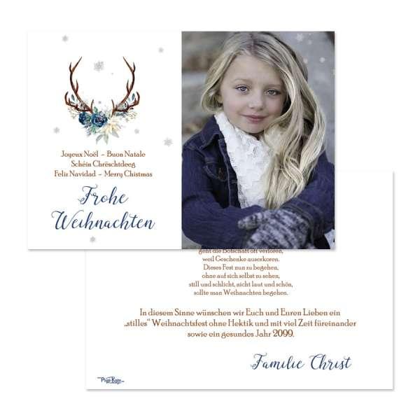 Weihnachtskarten mit Foto Hirschgeweih individuell drucken lassen