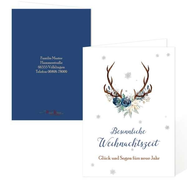 Weihnachtskarten für Gewerbe und privat Hirschgeweih Eiskristall blau